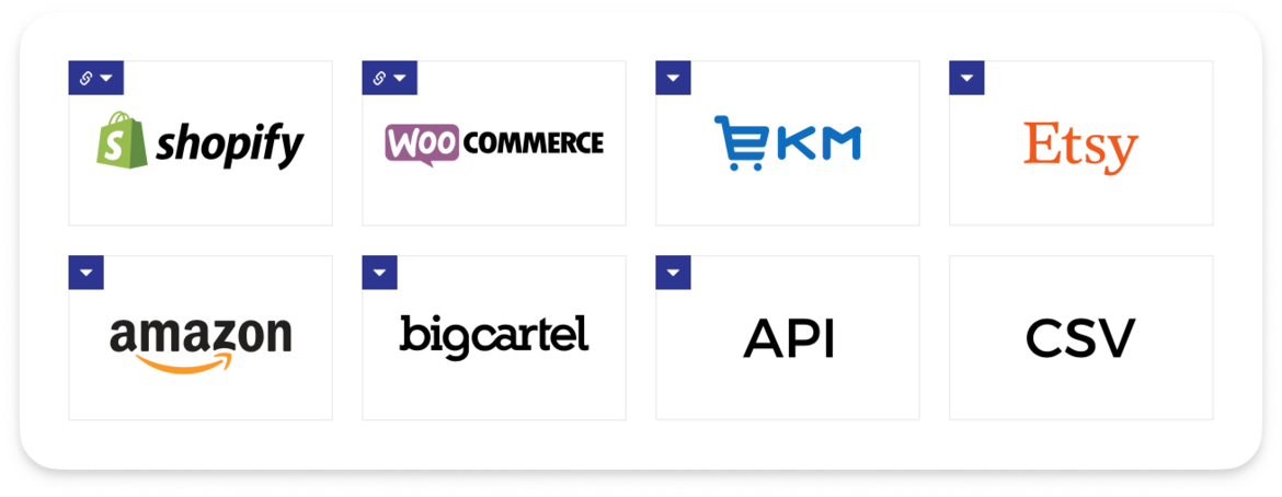 Shopify, WooCommerce, Etsy, BigCartel and other integrations