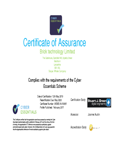 Certificate of Assurance Cyber Essentials