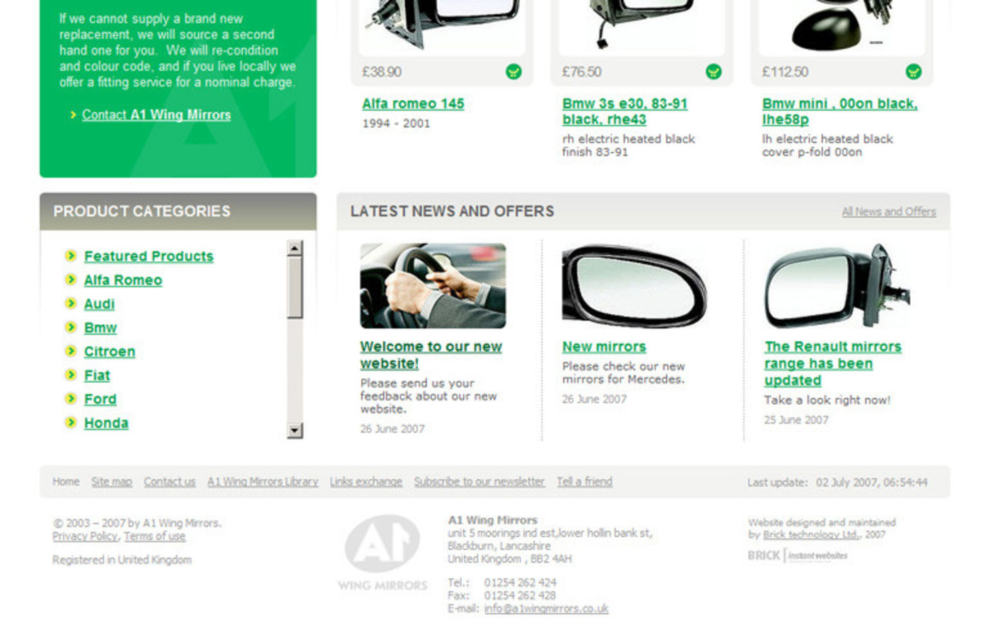 A1 Wing Mirrors Homepage footer - A1 Wing Mirrors
