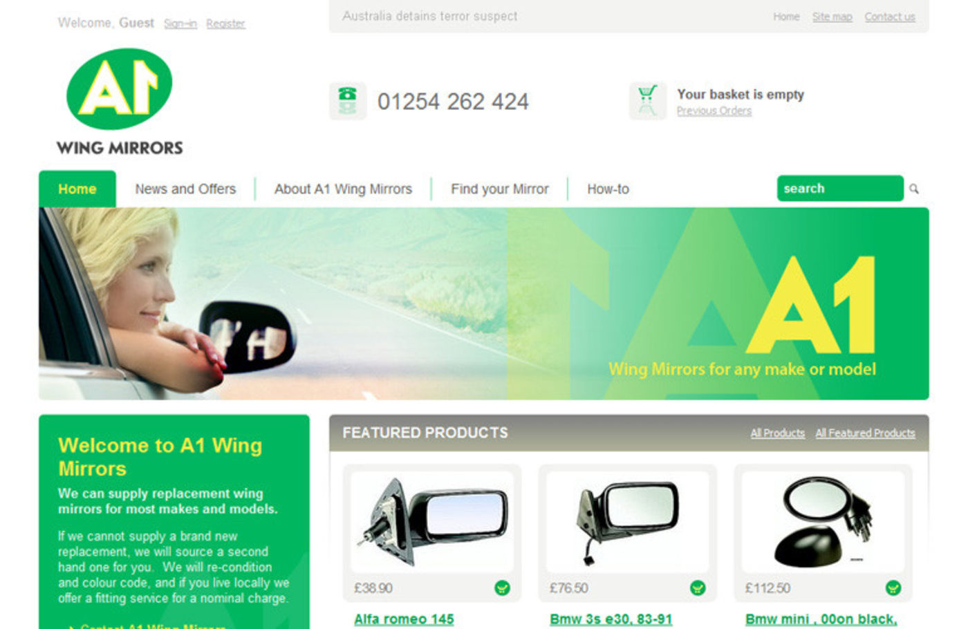 A1 Wing Mirrors Homepage header - A1 Wing Mirrors