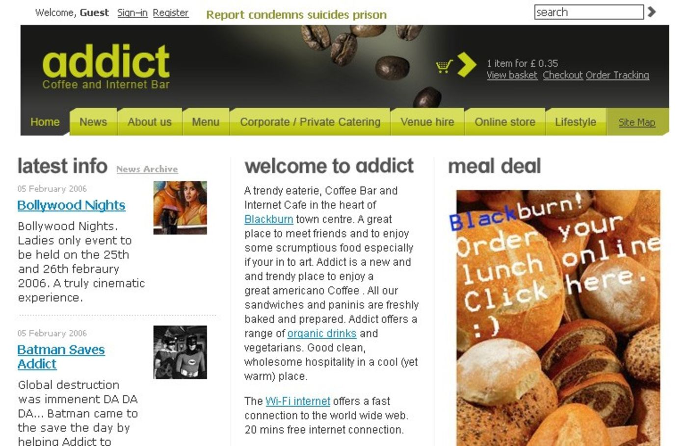 Addict Homepage header