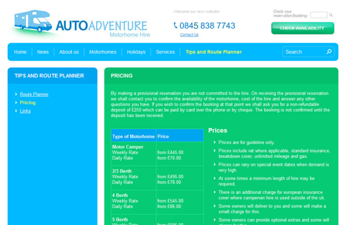 Auto Adventure Regular page