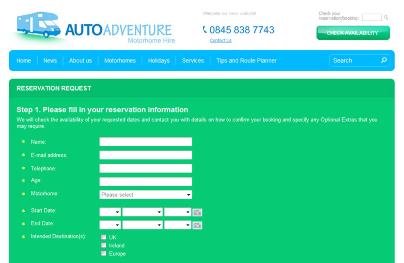Auto Adventure Reservation Request