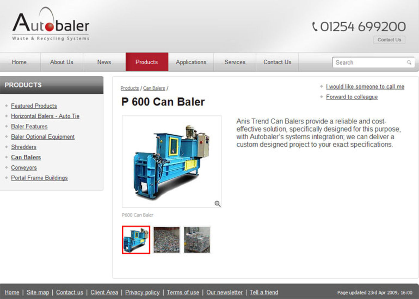 Autobaler Product page