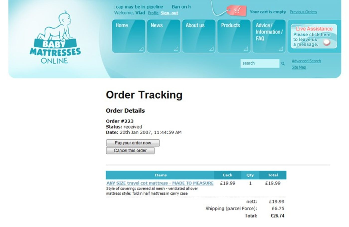 Baby Mattresses Online 2006 Order tracking