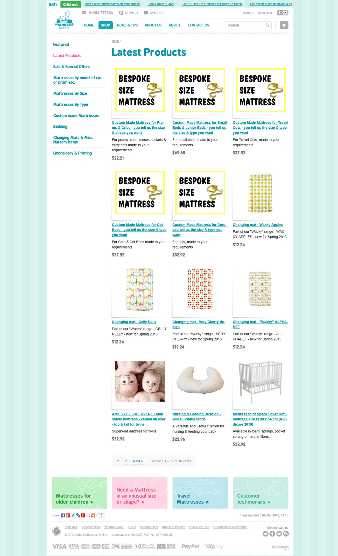 Baby Mattresses Online Categorie page