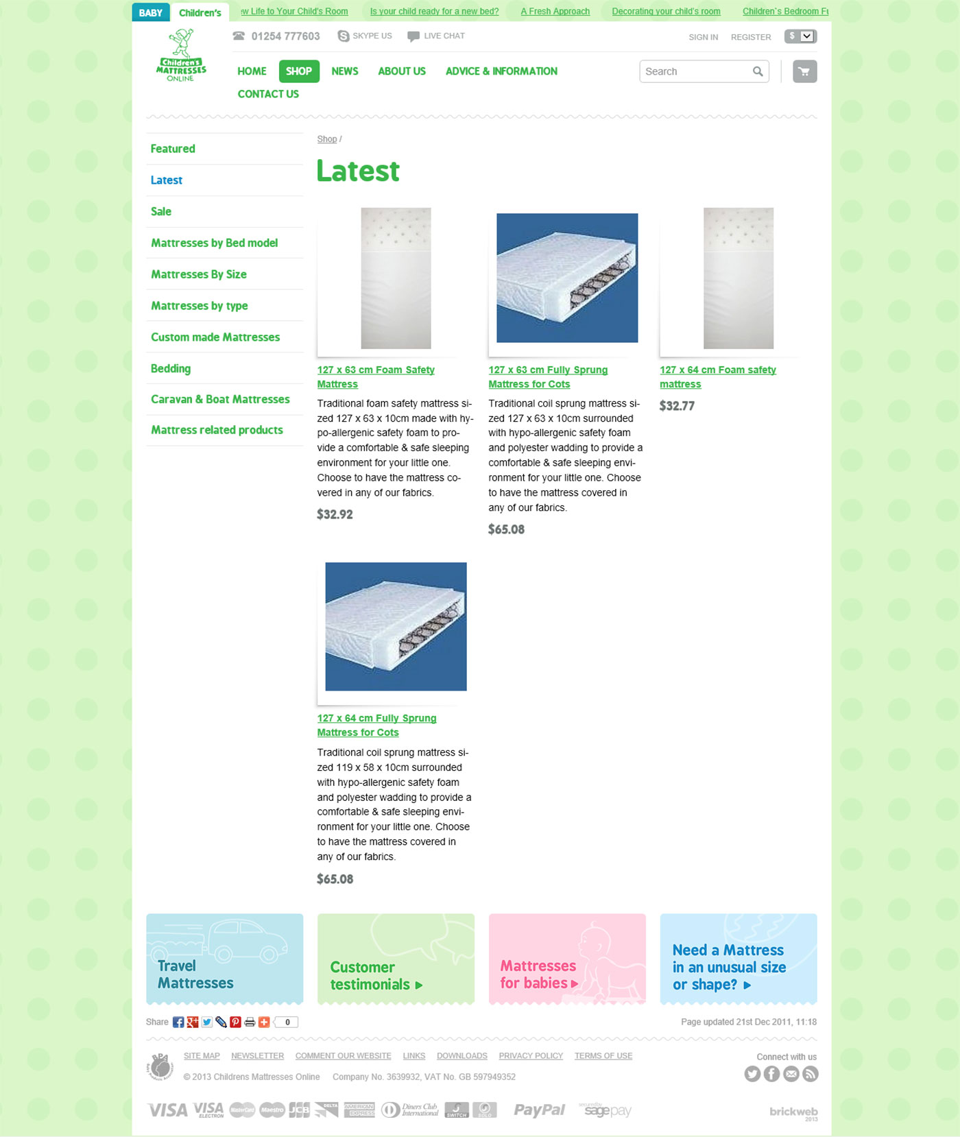 Childrens Mattresses Products page