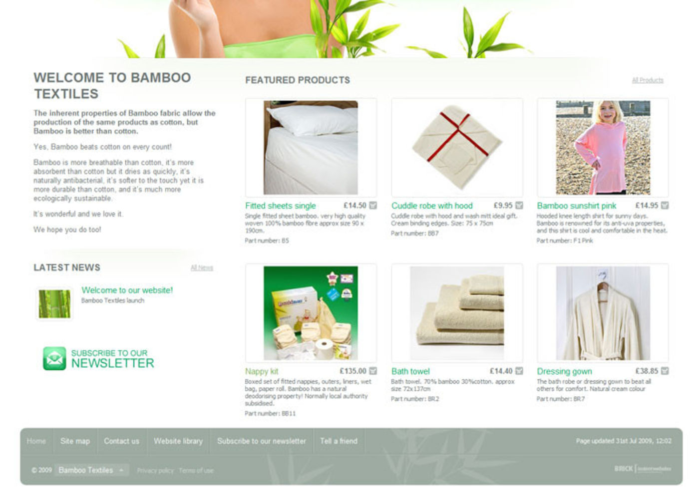 Bamboo Textiles Homepage footer