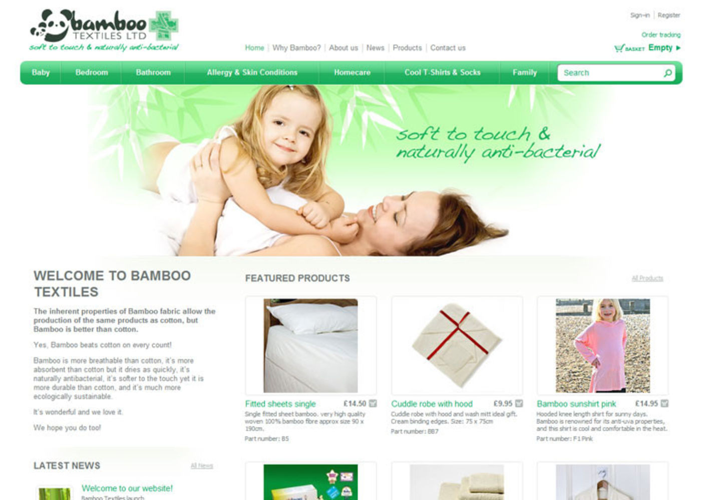 Bamboo Textiles Homepage header