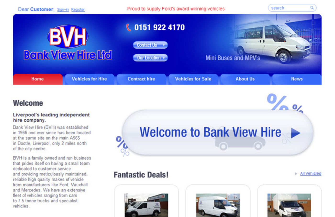 Bank View Hire Homepage header