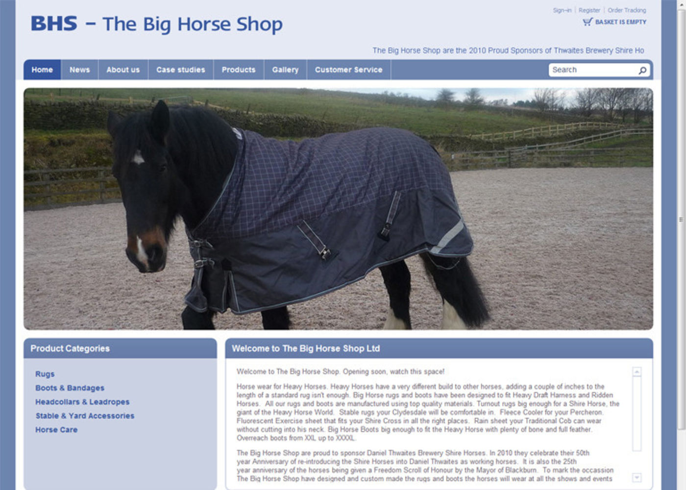 The Big Horse Shop (2009) Homepage header