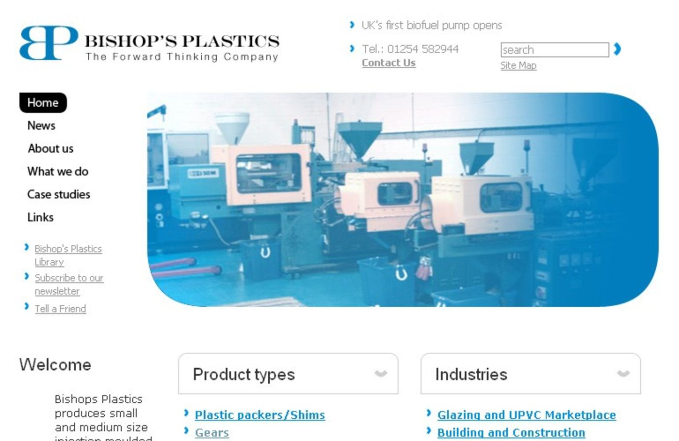 Bishop's Plastics Homepage header