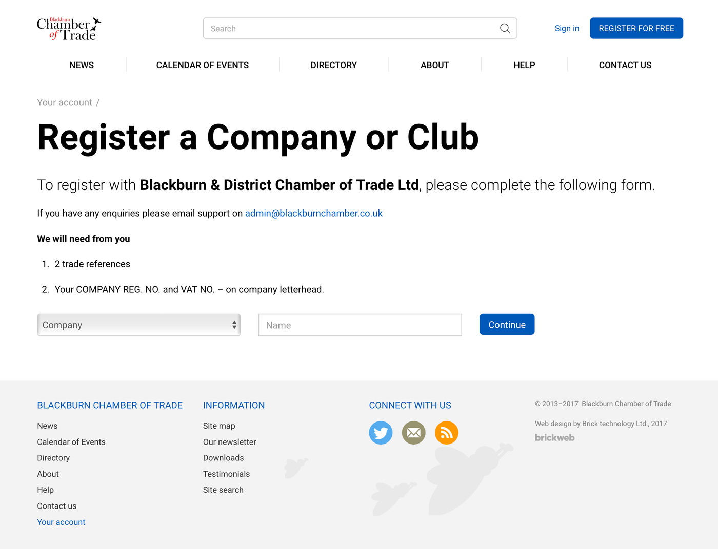 Blackburn Chamber of Trade Company register