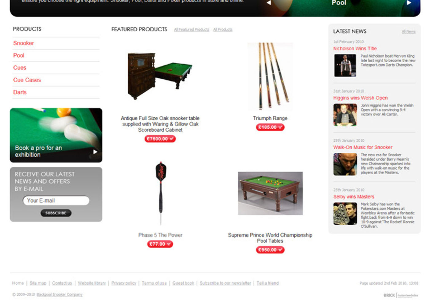 Blackpool Snooker Company Homepage footer