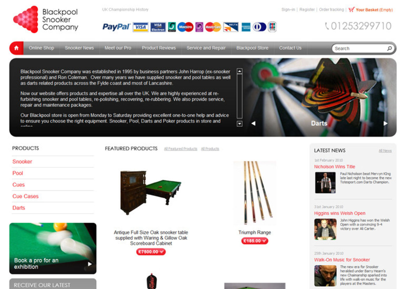Blackpool Snooker Company Homepage header