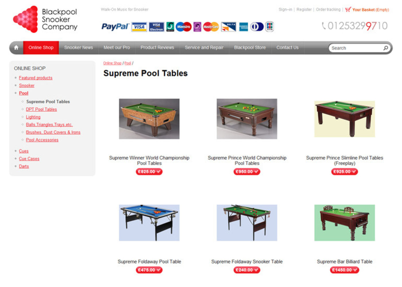 Blackpool Snooker Company Online shop
