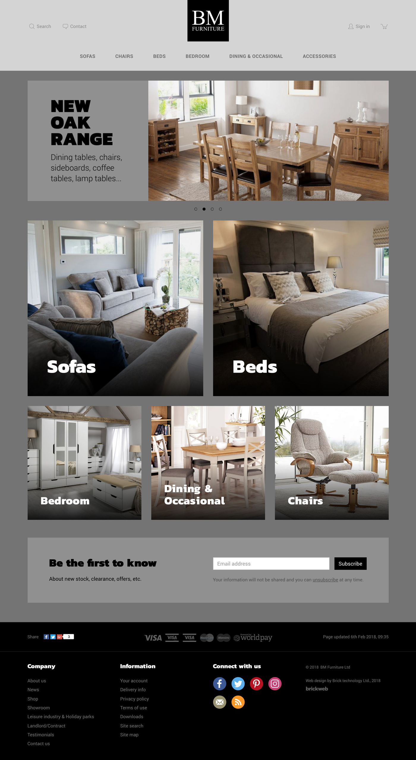 BM Furniture Home page