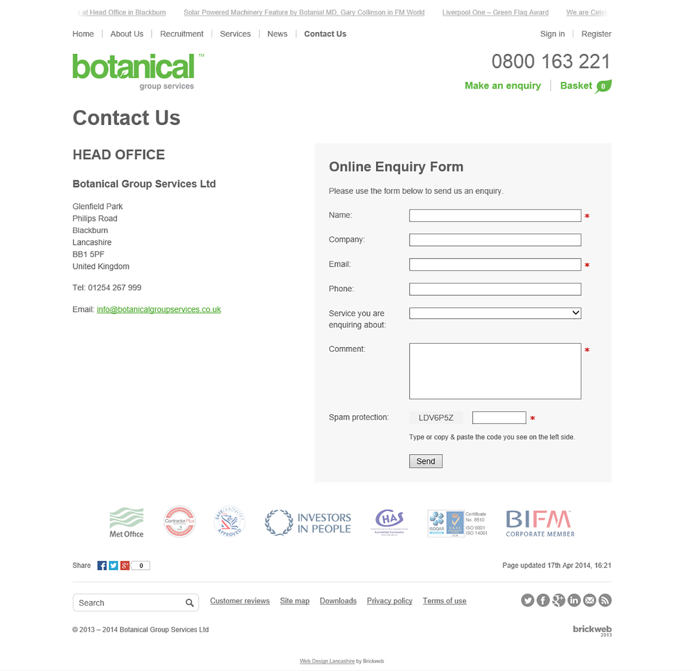 Botanical Group Services 2014 Contact Us
