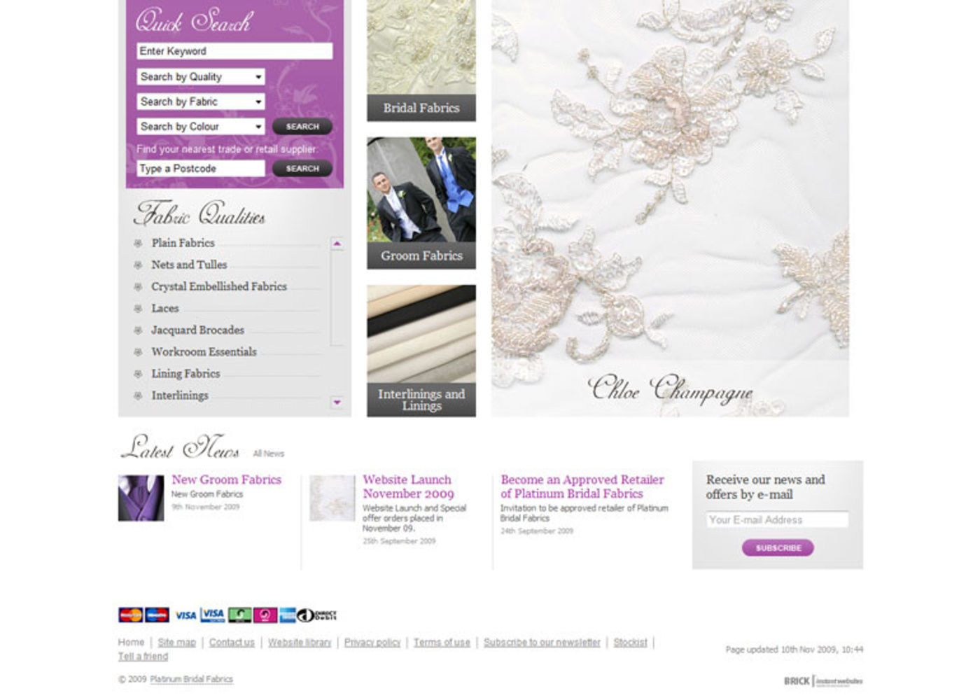 Bridal Fabrics 2009 Homepage footer