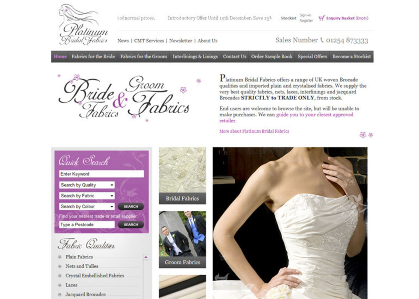Bridal Fabrics 2009 Homepage header