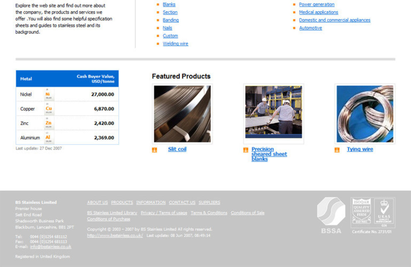 BS Stainless 2004 Homepage footer