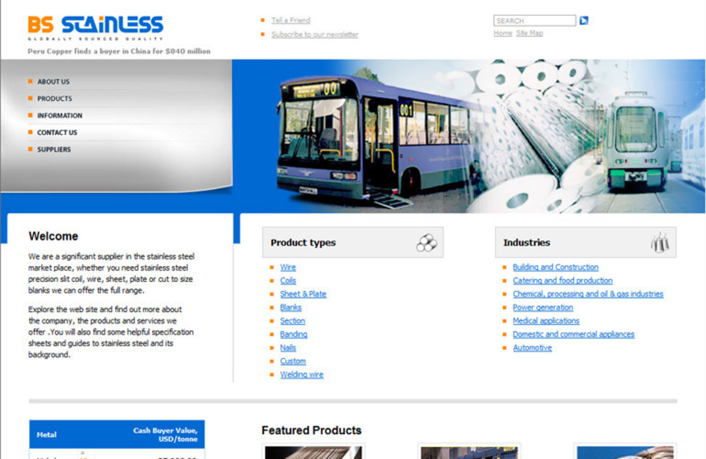 BS Stainless 2004 Homepage header