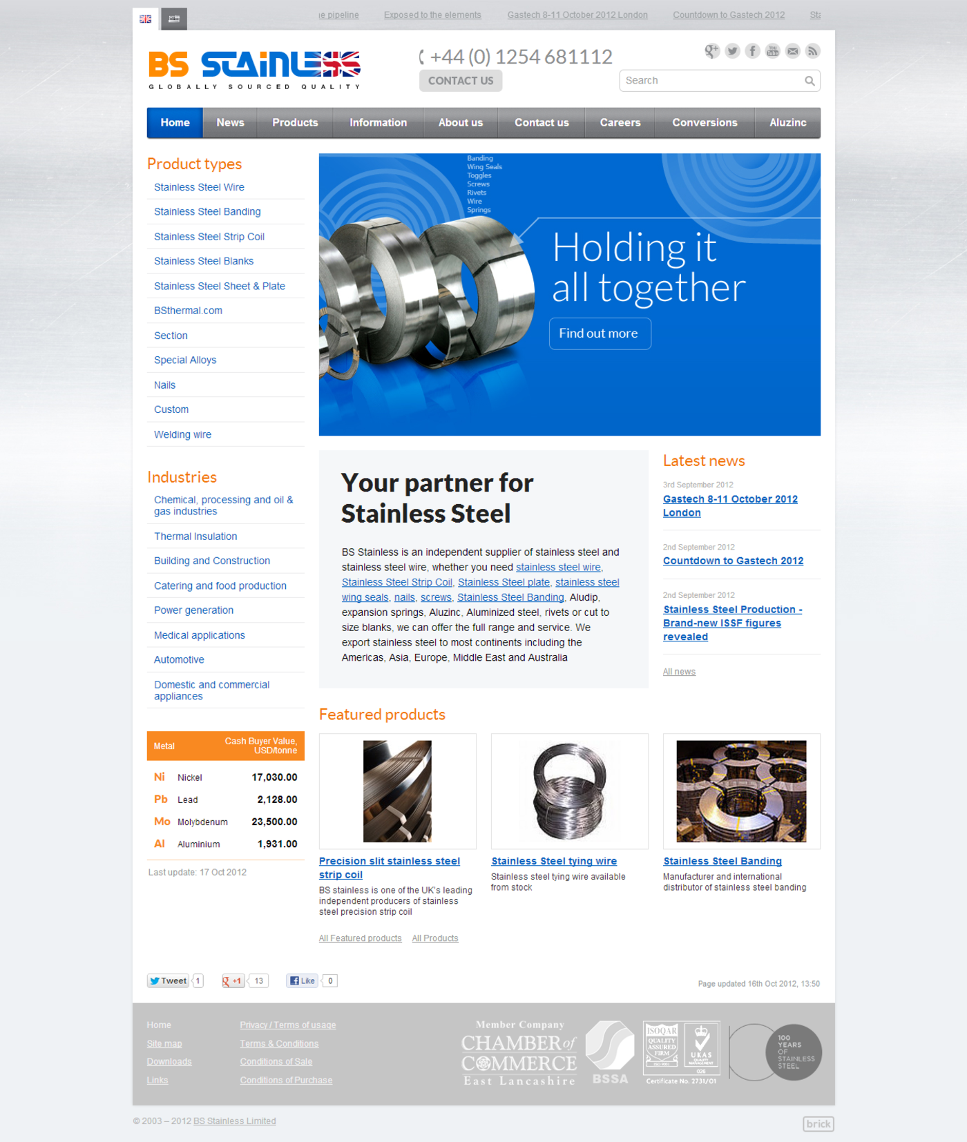 BS Stainless 2012 Homepage