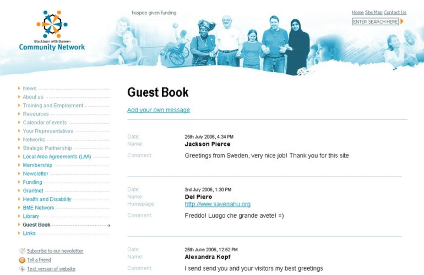 BwD Community Network Guestbook