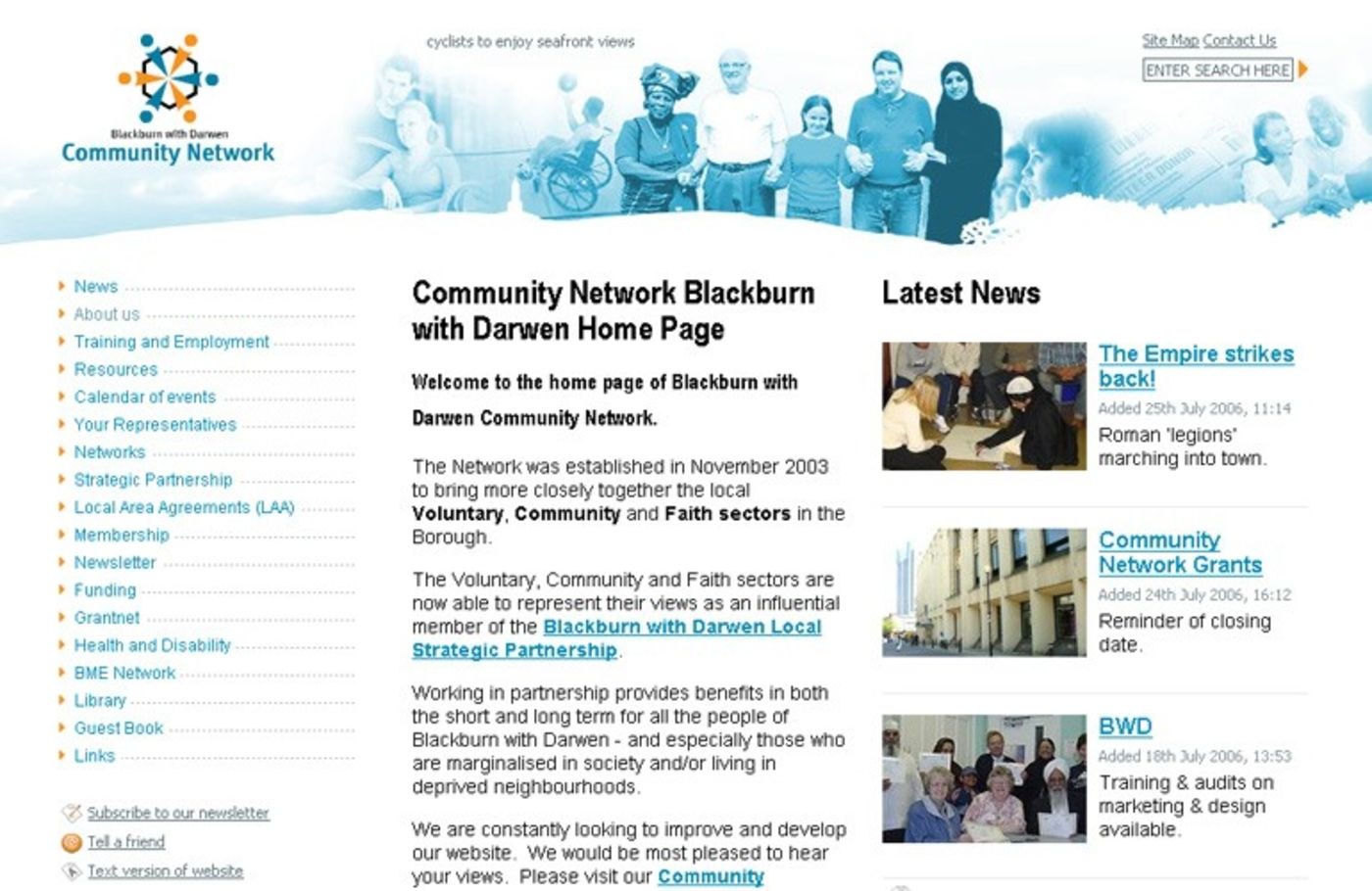 BwD Community Network Homepage header
