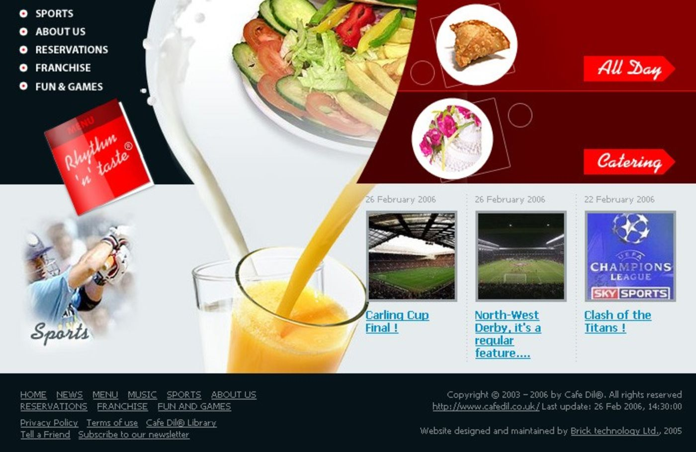 Cafe Dil Homepage footer