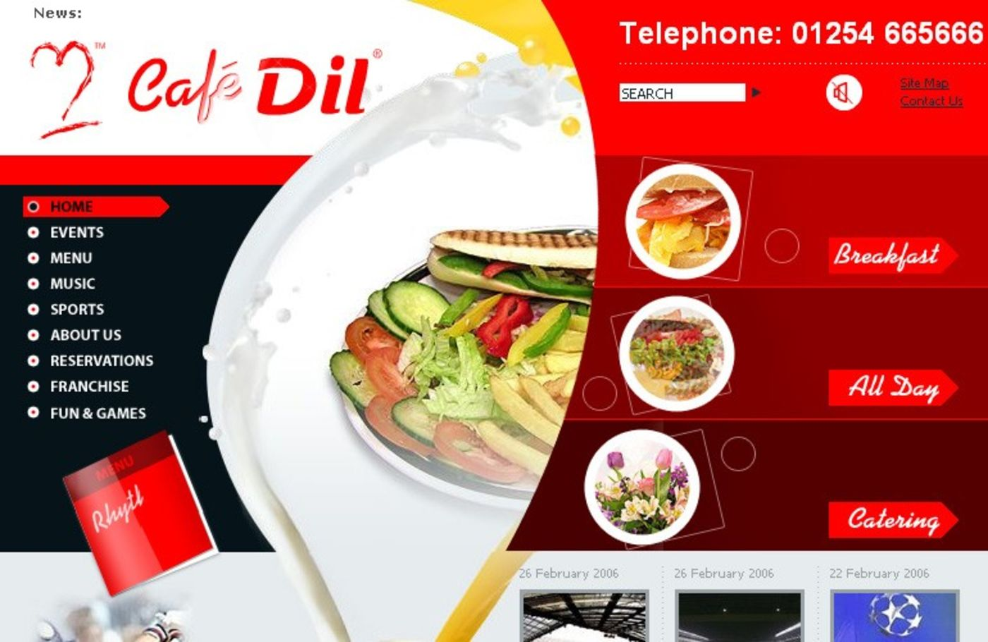 Cafe Dil Homepage header