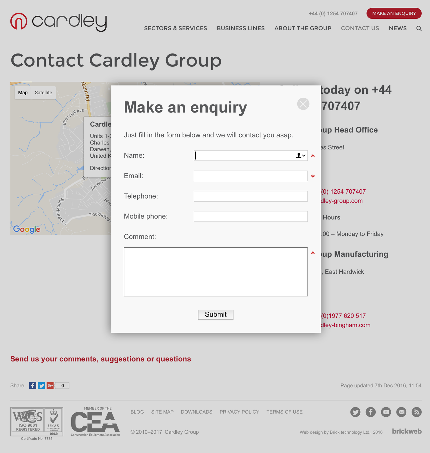 Cardley Group Enquiry form