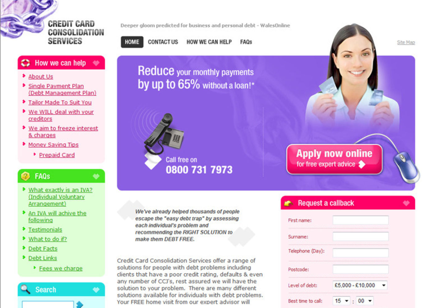 Credit Card Consolidation Services Homepage header