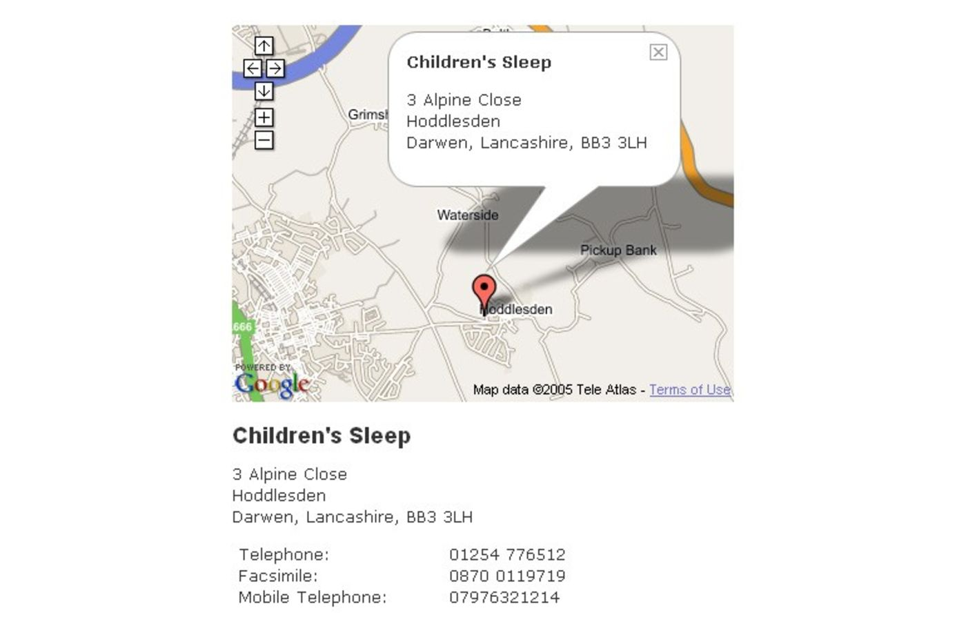 Childrens Sleep Contact details