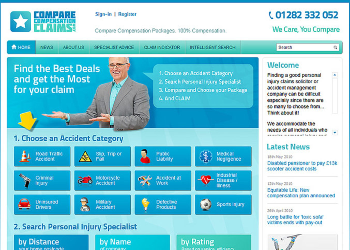 Compare Compensation Claims Homepage page