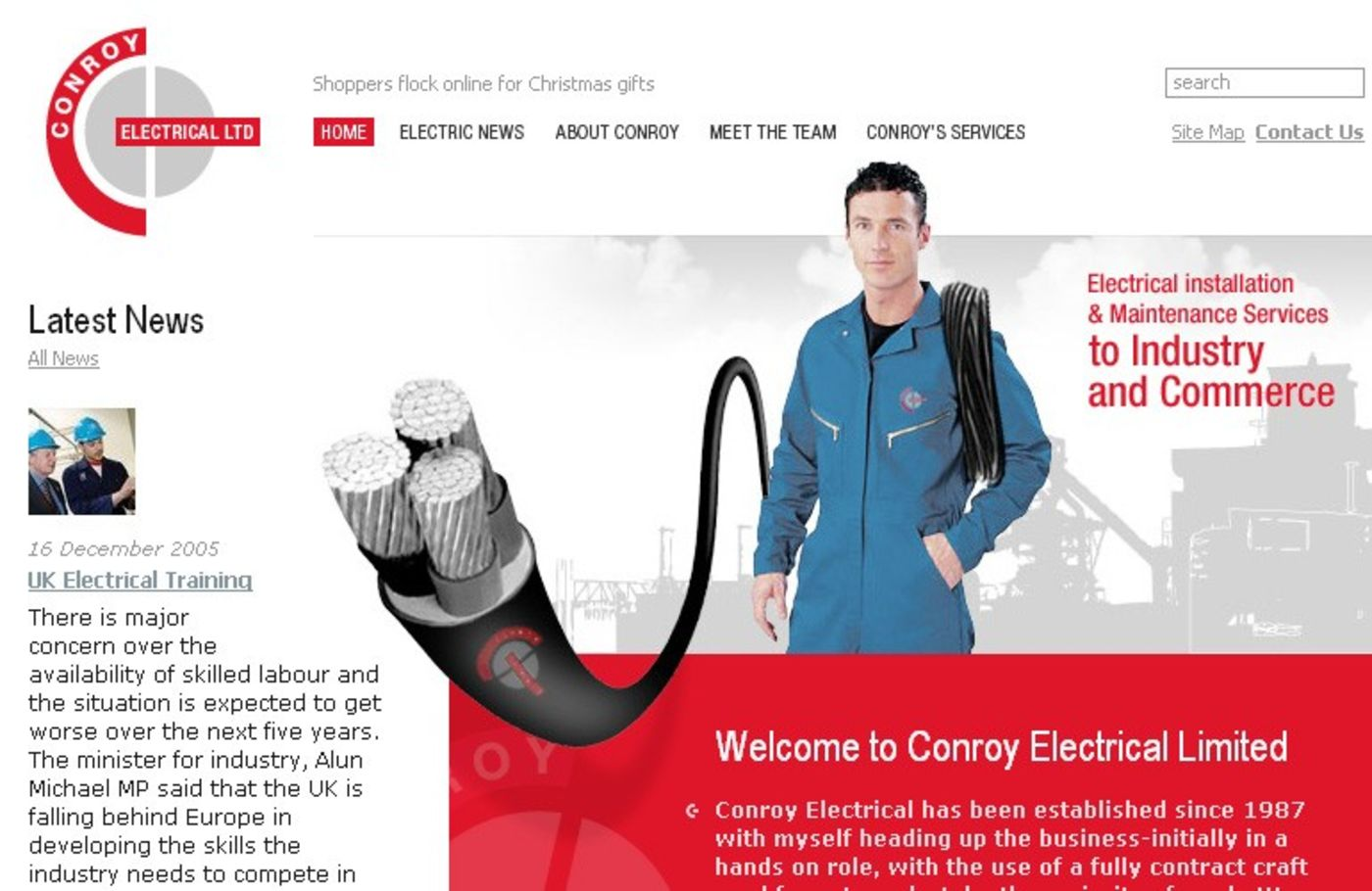 Conroy Electrical Limited Homepage header