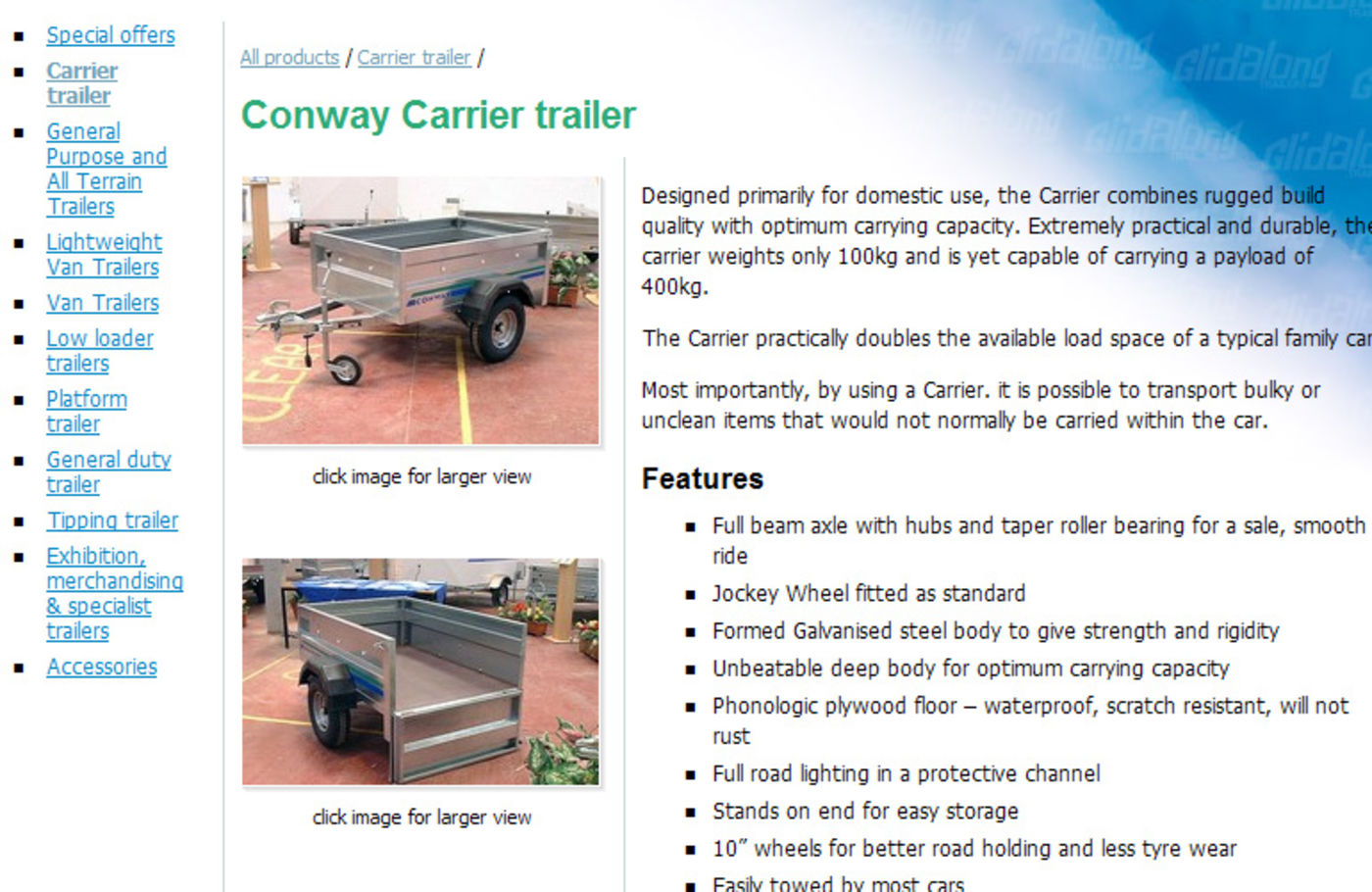 Conway Commercial Trailers Product page header
