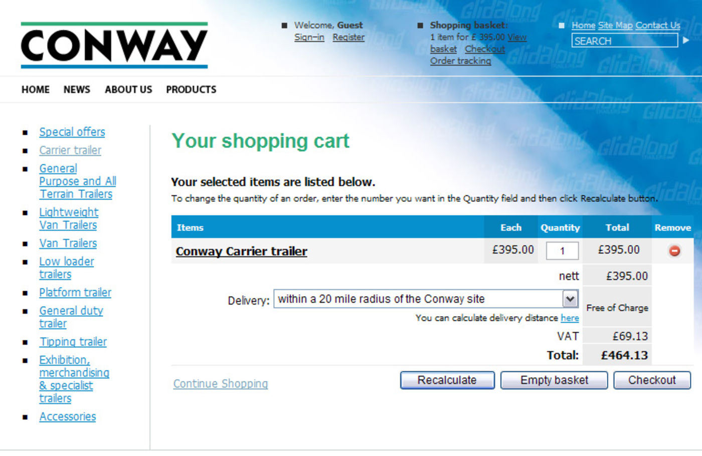 Conway Commercial Trailers Shopping basket