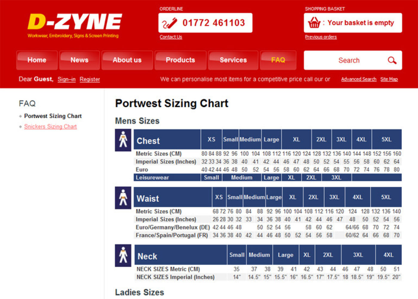 D-Zyne 2008 Portwest Sizing Chart