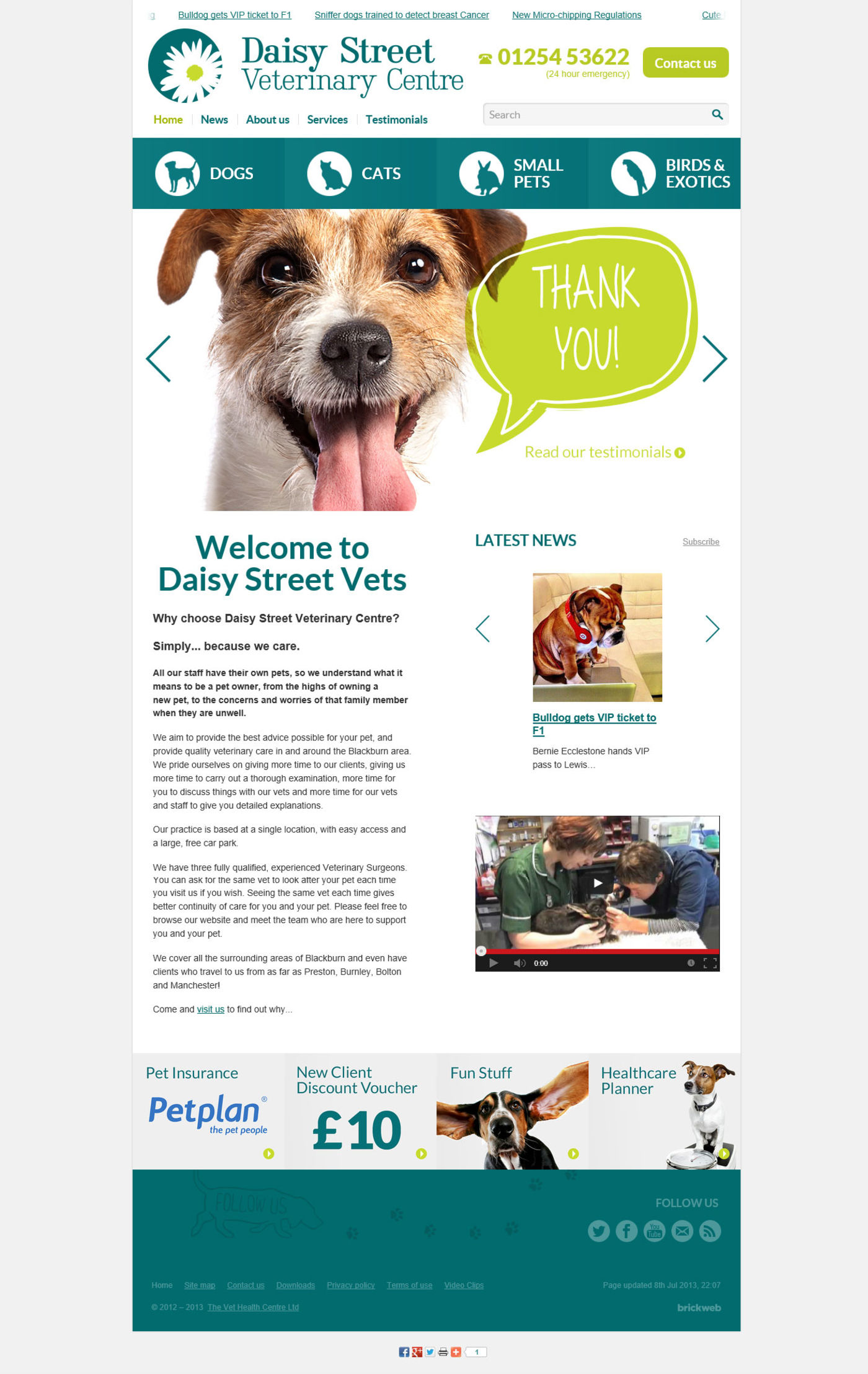 Daisy Street Vets Home page