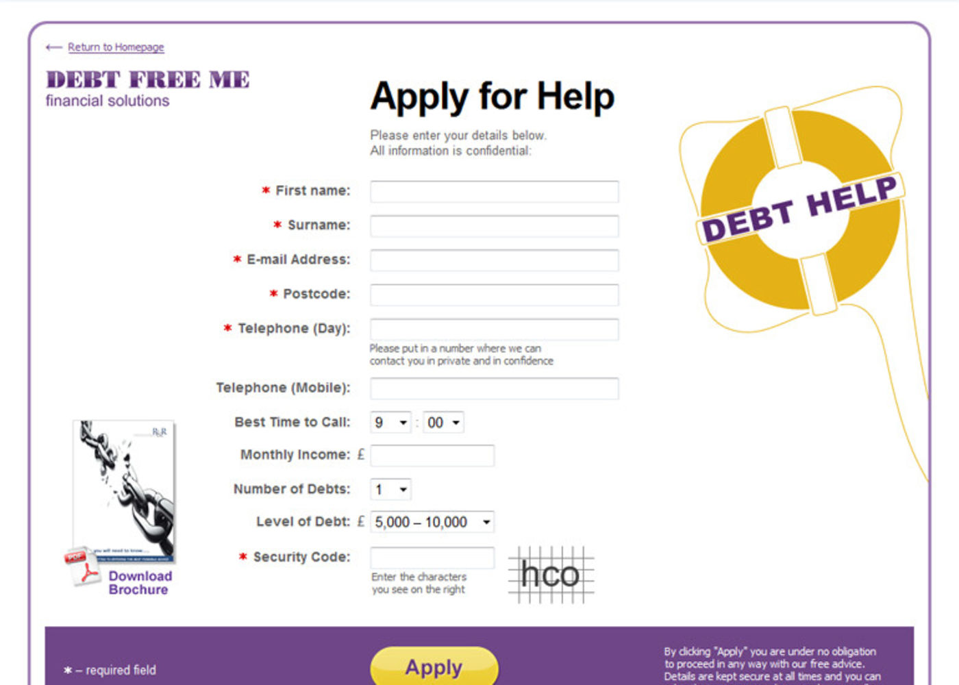 Debt Free Me Apply for Help