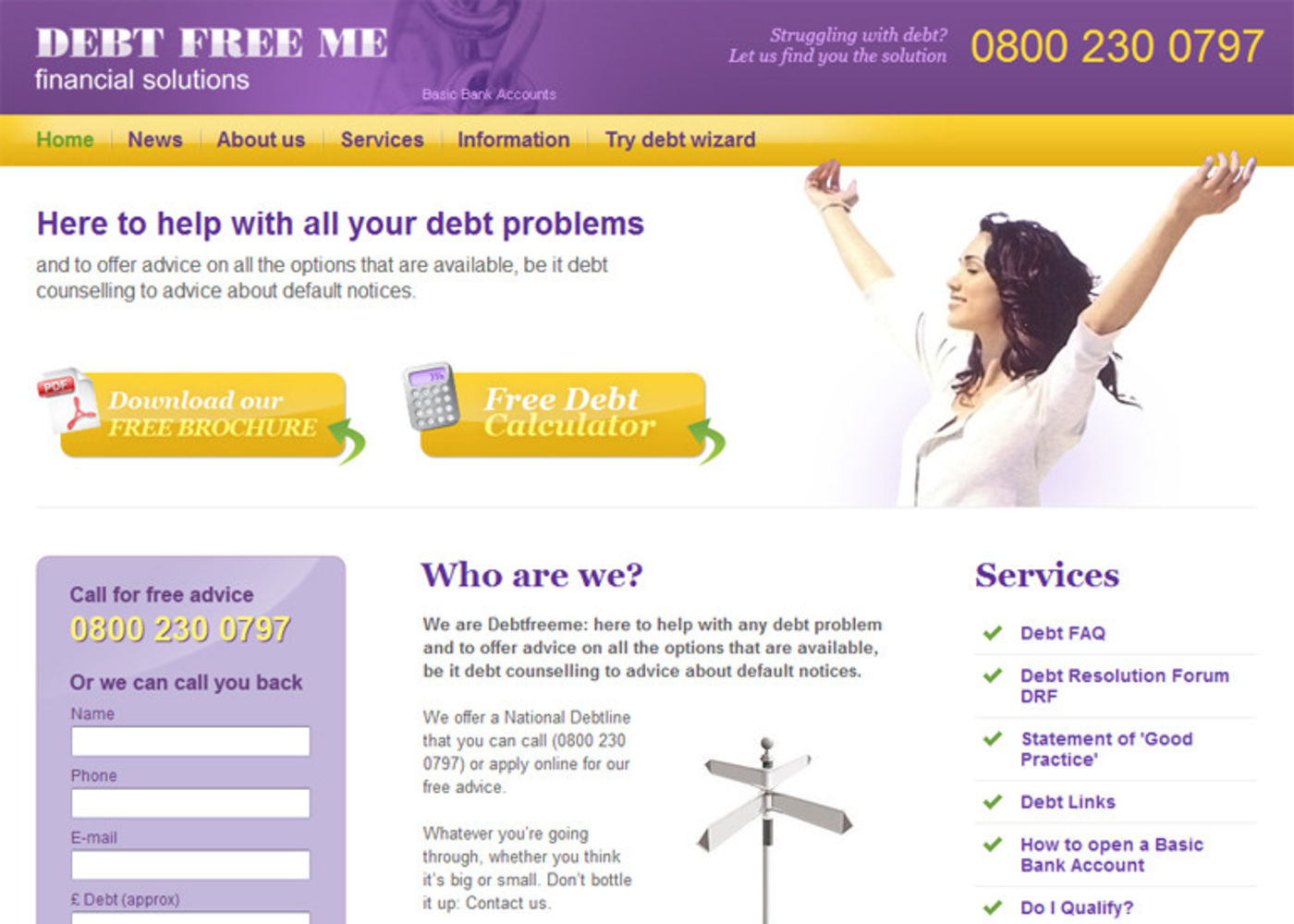 Debt Free Me Homepage header