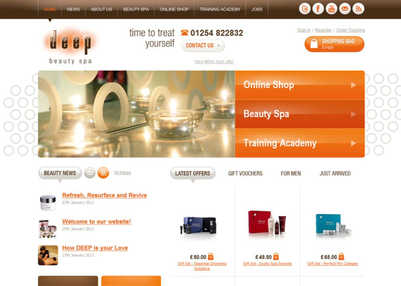 Deep Beauty Spa Homepage header