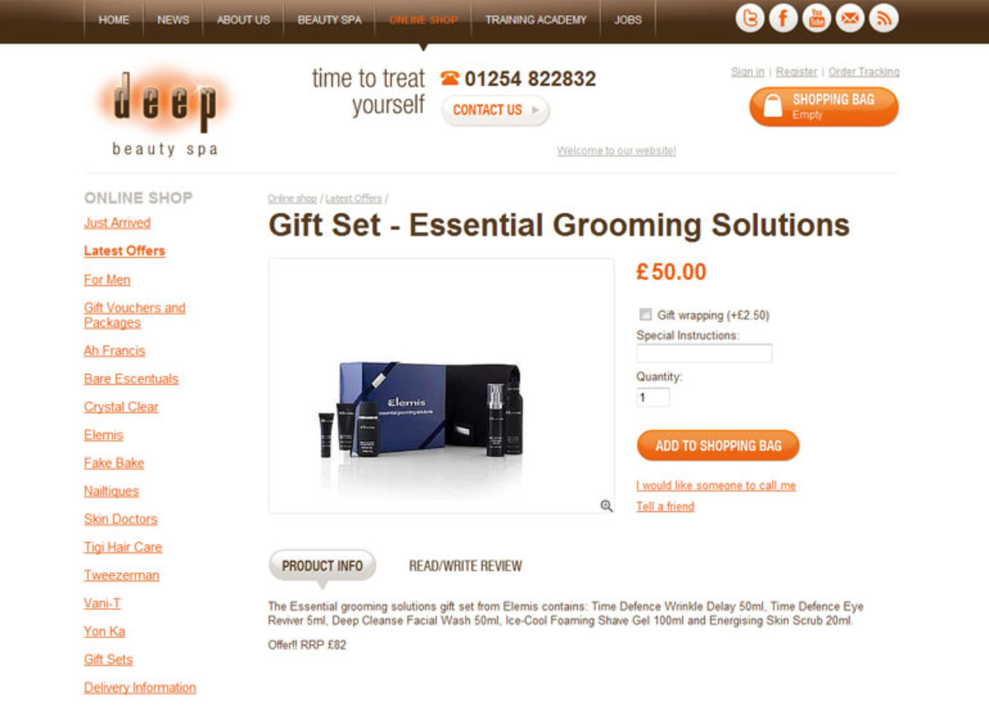 Deep Beauty Spa Product page