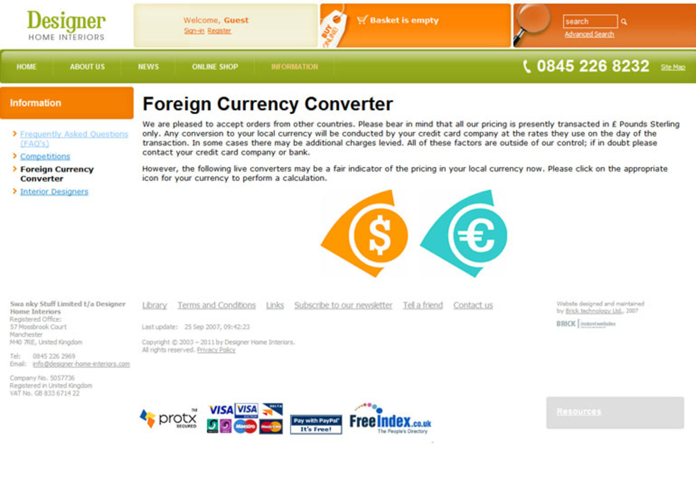 Designer Home Interiors Foreign currency converter
