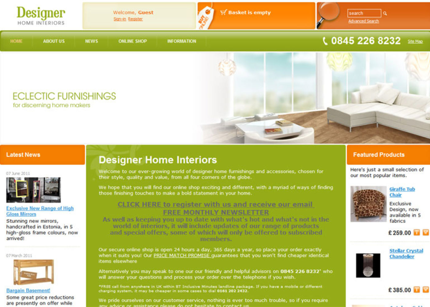 Designer Home Interiors Homepage header