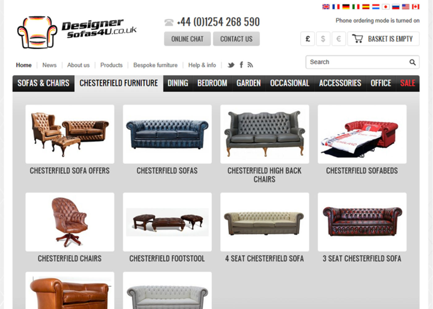 Designer Sofas 4U 2008 Category menu