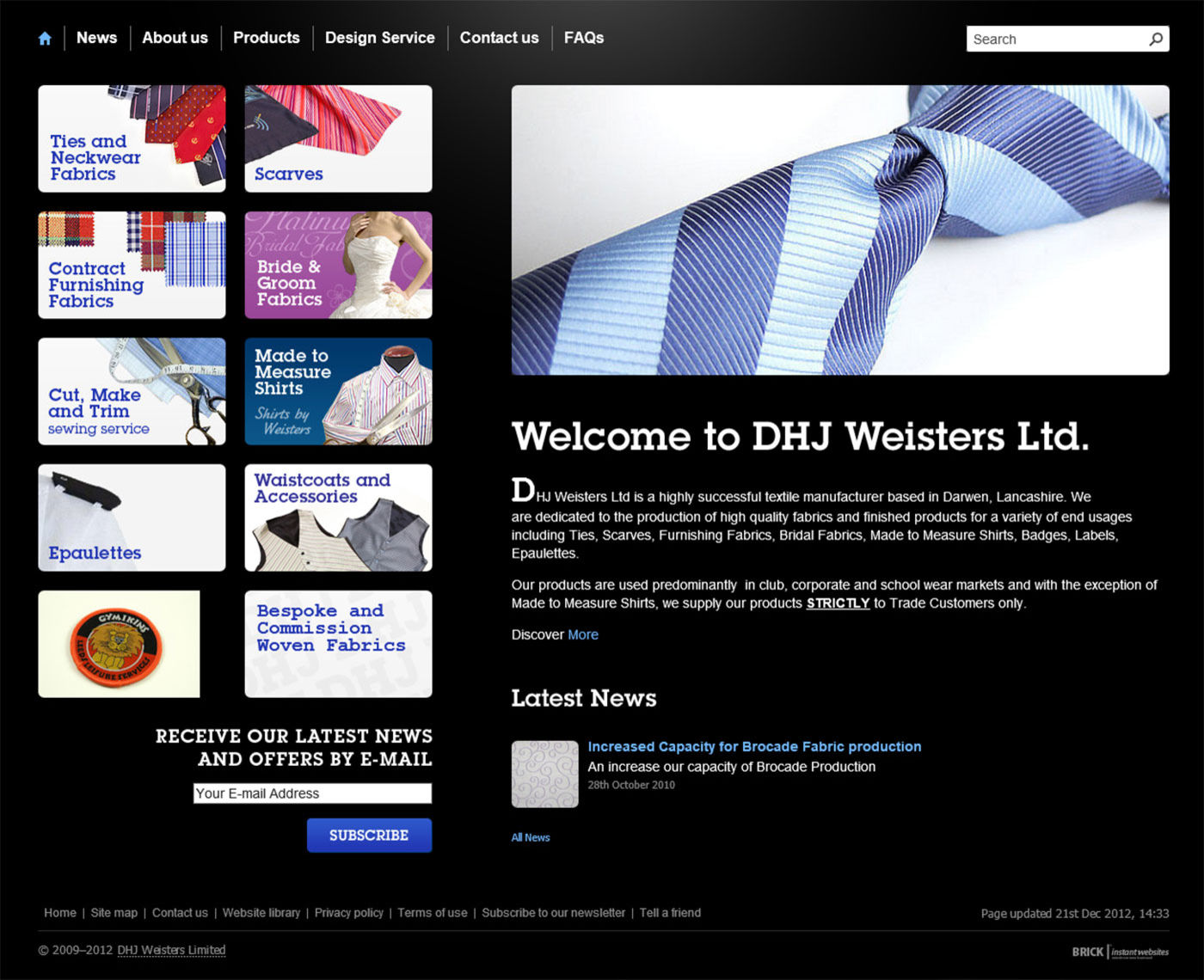 DHJ Weisters Limited (2012) Homepage
