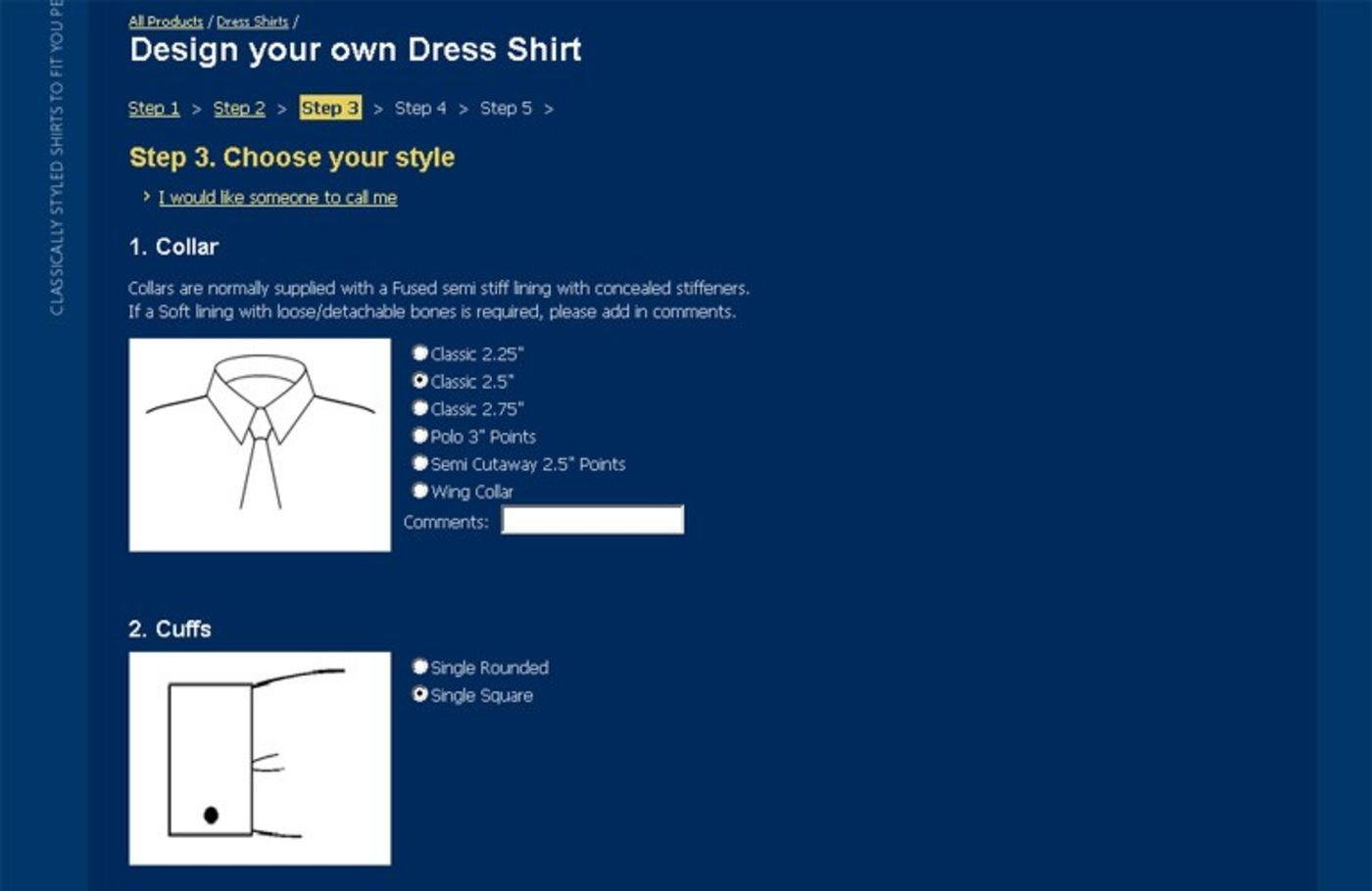 Shirts by Weisters Design Your Own Dress Shirt Step 3