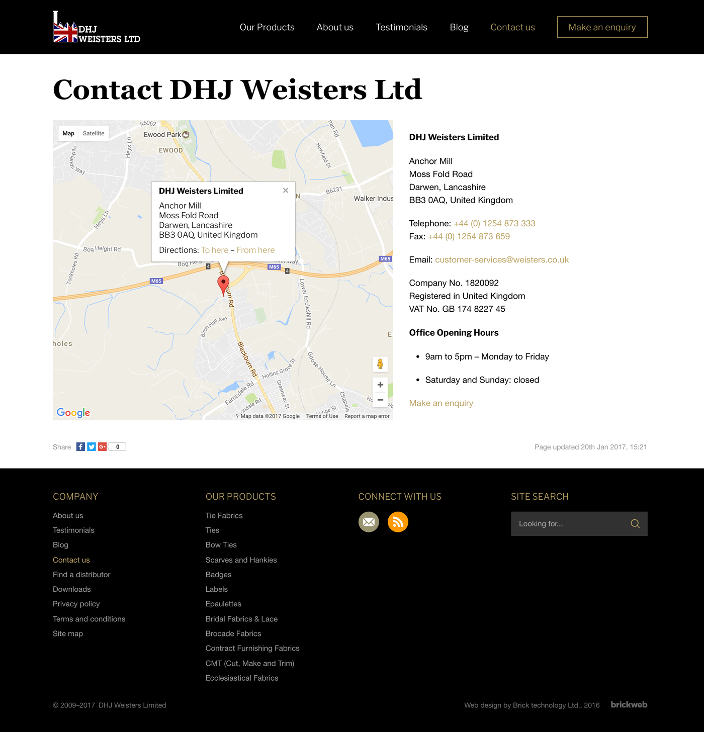 DHJ Weisters Limited Contact us